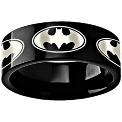 COI Black Tungsten Carbide Batman Pipe Cut Flat Ring-TG3494
