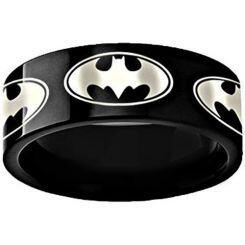 *COI Black Titanium Batman Pipe Cut Flat Ring-3494