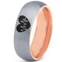 COI Tungsten Carbide Rose Silver Heart & Heartbeat Ring-TG3496
