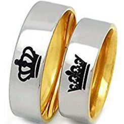 COI Tungsten Carbide King Queen Crown Dome Court Ring-TG3512AA