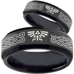 COI Black Titanium Legend of Zelda Celtic Beveled Edges Ring-3561