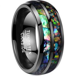COI Black Tungsten Carbide Crushed Opal Dome Court Ring-TG3565