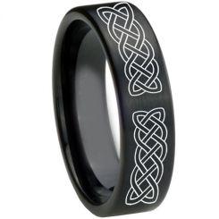COI Black Tungsten Carbide Celtic Pipe Cut Flat Ring-TG3577