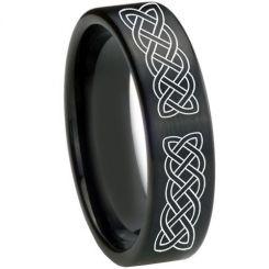 COI Black Titanium Celtic Pipe Cut Flat Ring-3577