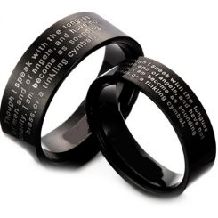 COI Black Tungsten Carbide Ring With Custom Engraving-TG3613