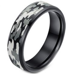 COI Black Tungsten Carbide Camo Pattern Beveled Edge Ring-3627
