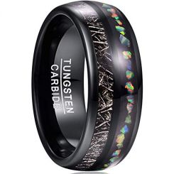 COI Black Tungsten Carbide Crushed Opal & Meteorite Dome Court Ring-TG3675