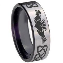 COI Tungsten Carbide Black Silver Mo Anam Cara Ring-TG3695