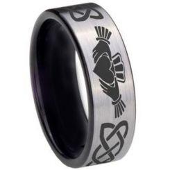 *COI Tungsten Carbide Black Silver Mo Anam Cara Ring-TG3695