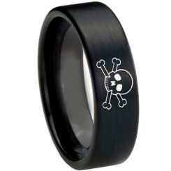 COI Black Tungsten Carbide Skull & Bones Pipe Cut Ring-TG3726