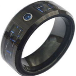 COI Black Tungsten Carbide Carbon Fiber & Zirconia Ring-TG3748