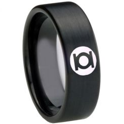 COI Black Tungsten Carbide Green Lantern Pipe Cut Ring-TG3795