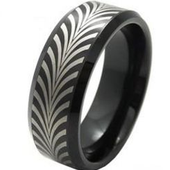 COI Black Tungsten Carbide Beveled Edges Ring-TG3801