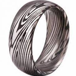 COI Black Tungsten Carbide Damascus Dome Court Ring-TG3807