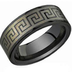 COI Black Tungsten Carbide Greek Key Pipe Cut Flat Ring-TG3826