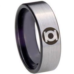 COI Tungsten Carbide Black Silver Green Lantern Ring-TG3838