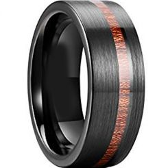 COI Black Tungsten Carbide Offset Wood Pipe Cut Flat Ring-TG3847