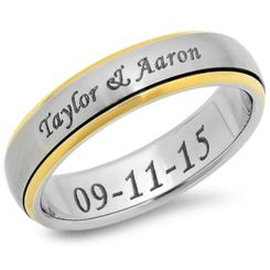 COI Tungsten Carbide Ring With Custom Engraving-TG3850