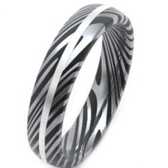 COI Tungsten Carbide Damascus Dome Court Ring-TG3859BB