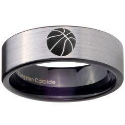 COI Tungsten Carbide Black Silver Basketball Ring-TG3886