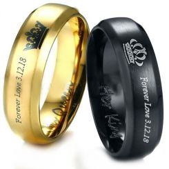 **COI Tungsten Carbide Black/Gold Tone King Queen Crown Ring-TG3887