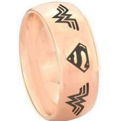 COI Rose Titanium Superman & Wonder Woman Ring-3893