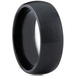 *COI Black Tungsten Carbide Dome Court Ring-3903