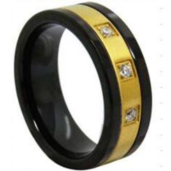 COI Tungsten Carbide Black Gold Tone Ring With Zirconia-TG3942