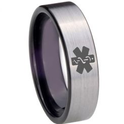 COI Tungsten Carbide Black Silver Medic Alert Ring-TG3975
