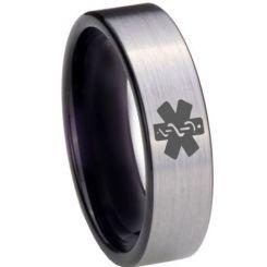 COI Tungsten Carbide Black Silver Medic Alert Ring-TG3975