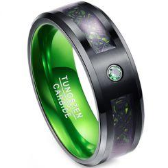 COI Tungsten Carbide Black Green Dragon Zirconia Ring-TG4017