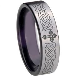 COI Tungsten Carbide Black Silver Cross Celtic Ring-TG4022