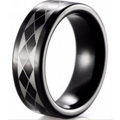COI Tungsten Carbide Black Silver Checkered Flag Ring-TG4025