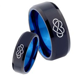 COI Tungsten Carbide Black Blue Infinity Heart Ring-TG4035