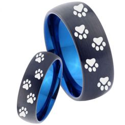 COI Tungsten Carbide Black Blue Paws Track Ring-TG4038