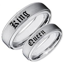 COI Tungsten Carbide King Queen Step Edges Ring-TG4045