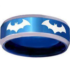 COI Titanium Blue Silver Batman Beveled Edges Ring-4055