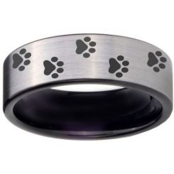 COI Tungsten Carbide Black Silver Paws Track Ring-TG4058