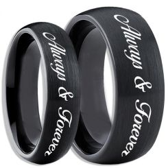 COI Black Tungsten Carbide Always & Forever Ring-TG4083
