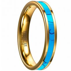 COI Gold Tone Tungsten Carbide Turquoise Ring-TG4094B