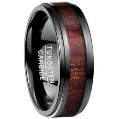 COI Black Tungsten Carbide Wood Step Edges Ring-TG4170