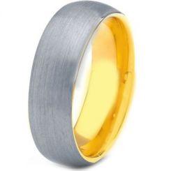 *COI Titanium Gold Tone Silver Dome Court Ring-JT3385