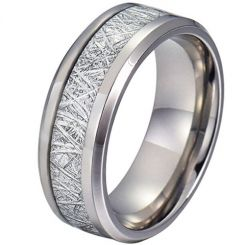 COI Tungsten Carbide Meteorite Beveled Edges Ring-TG4190