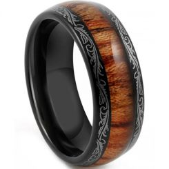 COI Black Tungsten Carbide Damascus Wood Dome Ring-TG4198