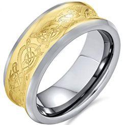 COI Tungsten Carbide Gold Tone Silver Concave Celtic Ring-TG4205