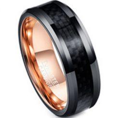 COI Tungsten Carbide Black Rose Ring With Carbon Fiber-TG4221