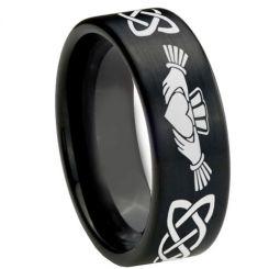 COI Black Tungsten Carbide Mo Anam Cara Celtic Ring-TG4251
