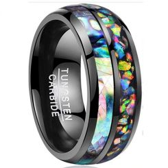 *COI Black Tungsten Carbide Crushed Opal and Abalone Shell Dome Court Ring-4257
