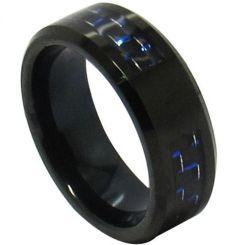 COI Black Tungsten Carbide Carbon Fiber Beveled Edges Ring-TG4312