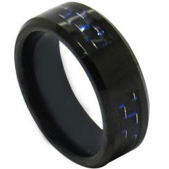 COI Black Tungsten Carbide Carbon Fiber Beveled Edges Signet Ring-TG4312